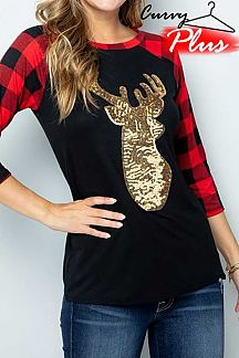 DEER SEQUIN PATCH ACCENT PLAID LONG SLEEVE TOP