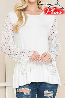 Plus Solid Body Lace Long Sleeve Round Neck Top