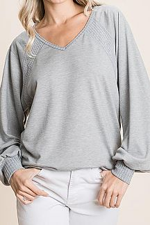 SOLID CONTRAST WAFFLE KNIT DETAIL TOP