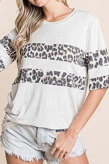 ANIMAL PRINT STRIPED KNIT TOP