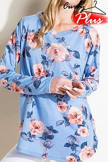 FLORAL PRINT LONG SLEEVE BOXY TOP