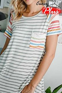 STRIPED CONTRAST MULTI COLOR STRIPED SHORT SLEEVE TOP