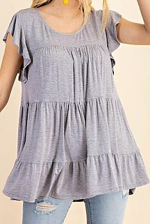 SOLID SHORT RUFFLE SLEEVE TIERED BODY TOP