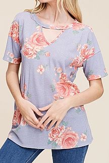 FLORAL PRINT KEYHOLE WAFFLE KNIT TOP