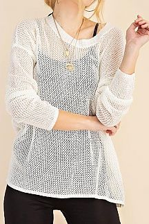 SOLID LONG SLEEVE FISHNET MESH SWEATER TOP