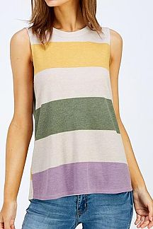 MULTI COLOR STRIPED SLEEVELESS TOP
