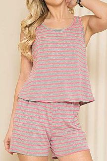 STRIPED SLEEVELESS TOP AND SHORT SET