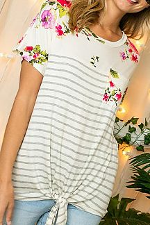 STRIPED AND FLORAL PRINT COLOR BLOCK SHORT SLEEVE TOP