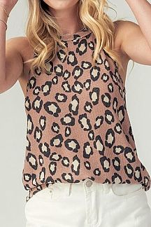 LEOPARD PRINT HALTER NECK TOP