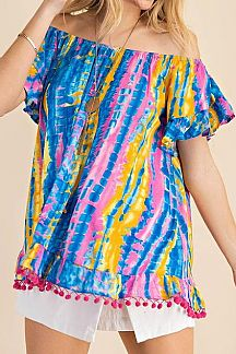 TIE DYE OFF SHOULDER POMPOM HEM DETAIL TOP