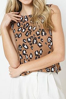 LEOPARD PRINT SLEEVELESS TANK TOP