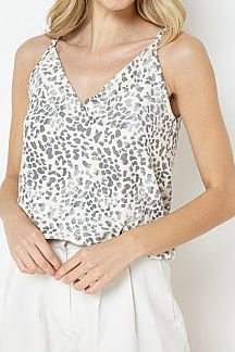 ANIMAL PRINT SURPLICE TOP