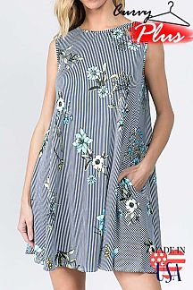 FLORAL AND STRIPE PRINT SLEEVELESS SWING DRESS