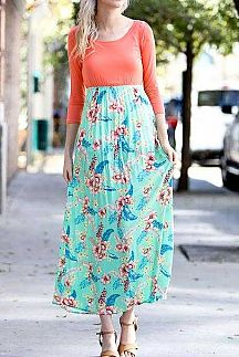 SOLID TOP AND FLORAL PRINT BOTTOM MAXI DRESS