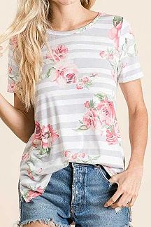 STRIPED AND FLORAL PRINT SHORT SLEEVE TOP