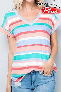 MULTI STRIPED SHORT SLEEVE KNIT TOP