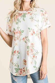 FLORAL PRINT FOLDED SHORT SLEEVE TUNIC TOP