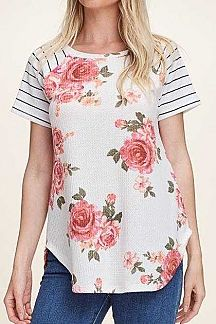 STRIPED SHORT SLEEVE FLORAL PRINT TOP