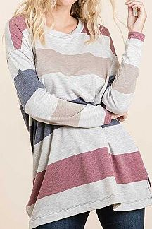 BOLD STRIPED LONG SLEEVE TUNIC TOP