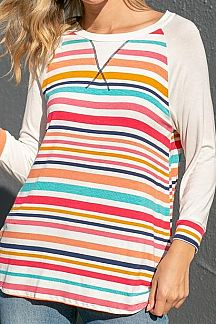 MULTI COLOR STRIPED CONTRAST 3/4 SLEEVE TOP