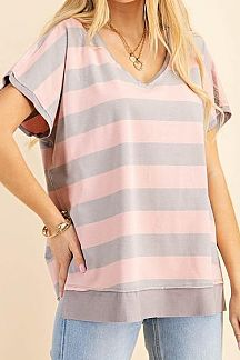 STRIPED CONTRAST DETAIL KNIT TOP