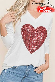 SEQUIN HEART PATCH DETAIL LONG SLEEVE KNIT TOP