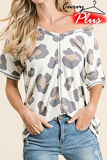 LEOPARD PRINT SHORT SLEEVE KNIT TOP