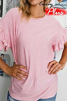 PINSTRIPED LAYERED RUFFLE SHORT SLEEVE TOP