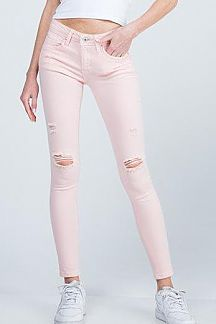 SOLID ANKLE SKINNY JEAN