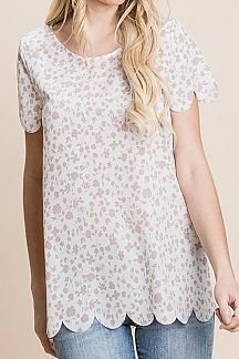 FLORAL PRINT SCALLOP EDGE TOP
