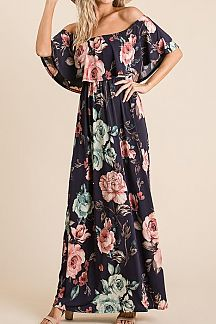 FLORAL PRINT LAYERED FOLDED NECK MAXI DRESS