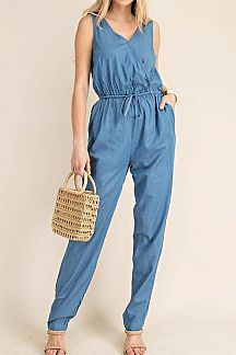 SOLID DENIM SURPLICE JUMPSUIT
