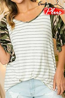 STRIPED CONTRAST CAMO PRINT RUFFLE SLEEVE TOP