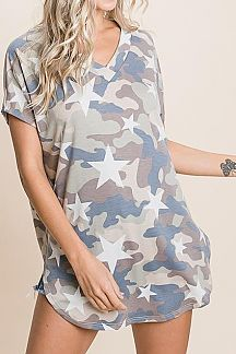 STAR AND CAMO PRINT SHORT SLEEVE TOP