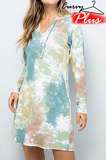 TIE DYE V NECK LONG SLEEVE MINI DRESS WITH HOODIE