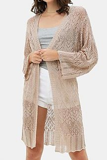 SOLID BELL SLEEVE LACED CARDIGAN