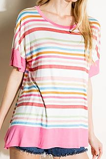 MULTI COLOR STRIPED CONTRAST DETAIL BOXY TOP
