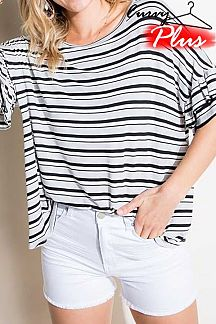 STRIPED RUFFLE SHORT SLEEVE KNIT TOP