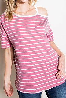 STRIPED COLD SHOULDER BOXY TOP