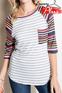 STRIPED CONTRAST MULTI COLOR STRIPED 3/4 SLEEVE TOP