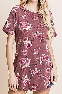 FLORAL PRINT SHORT SLEEVE TUNIC TOP