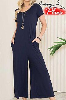 SOLID SHORT SLEEVE JUMPSUIT