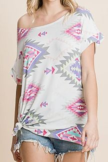 AZTEC PRINT SHORT SLEEVE TUNIC TOP