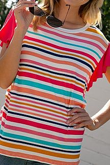 MULTI COLOR STRIPED RUFFLE SLEEVE TOP