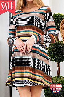 [PREORDER 09/06/19] MULTICOLOR STRIPED LONG SLEEVE KNIT SWING DR