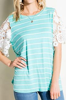 STRIPE SHORT LACE SLEEVE KNIT TOP TOP