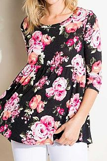 FLORAL PRINT ROUND NECK 3/4 SLEEVE BABYDOLL TOP