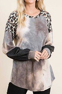 ANIMAL PRINT ACCENT TIE DYE TUNIC TOP