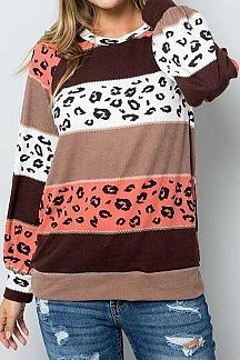 COLOR BLOCK AND LEOPARD PRINT LONG PUFF SLEEVE TOP