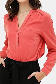 SOLID LONG SLEEVE BUTTON UP SHIRT TOP